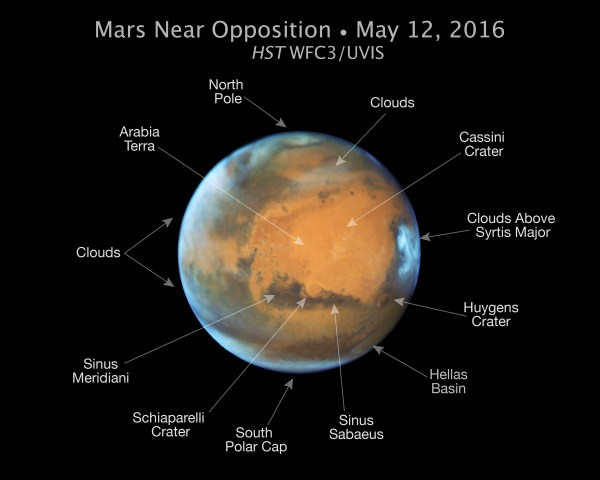 Mars Near 2016 Oppostion Annotated NASAs Mars