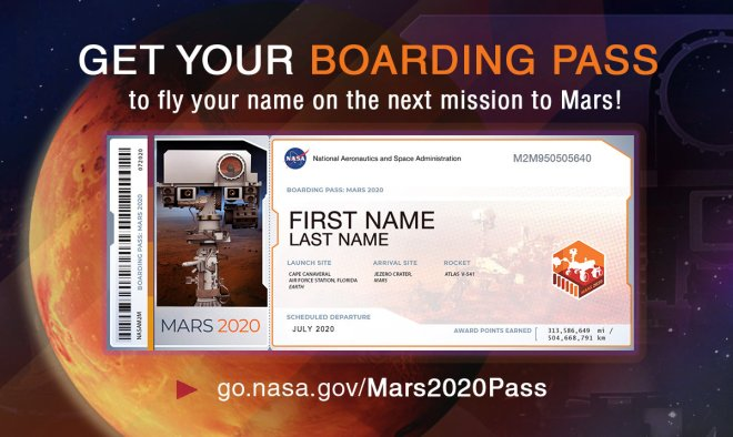 All Aboard for Mars 2020: Members of the public who want to send their name to Mars on NASA's next rover mission to the Red Planet (Mars 2020) can get a souvenir boarding pass and their names stenciled on chips to be affixed to the rover. Sign up atgo.nasa.gov/Mars2020Pass. Image Credit:NASA/JPL-Caltech.Full image and caption›