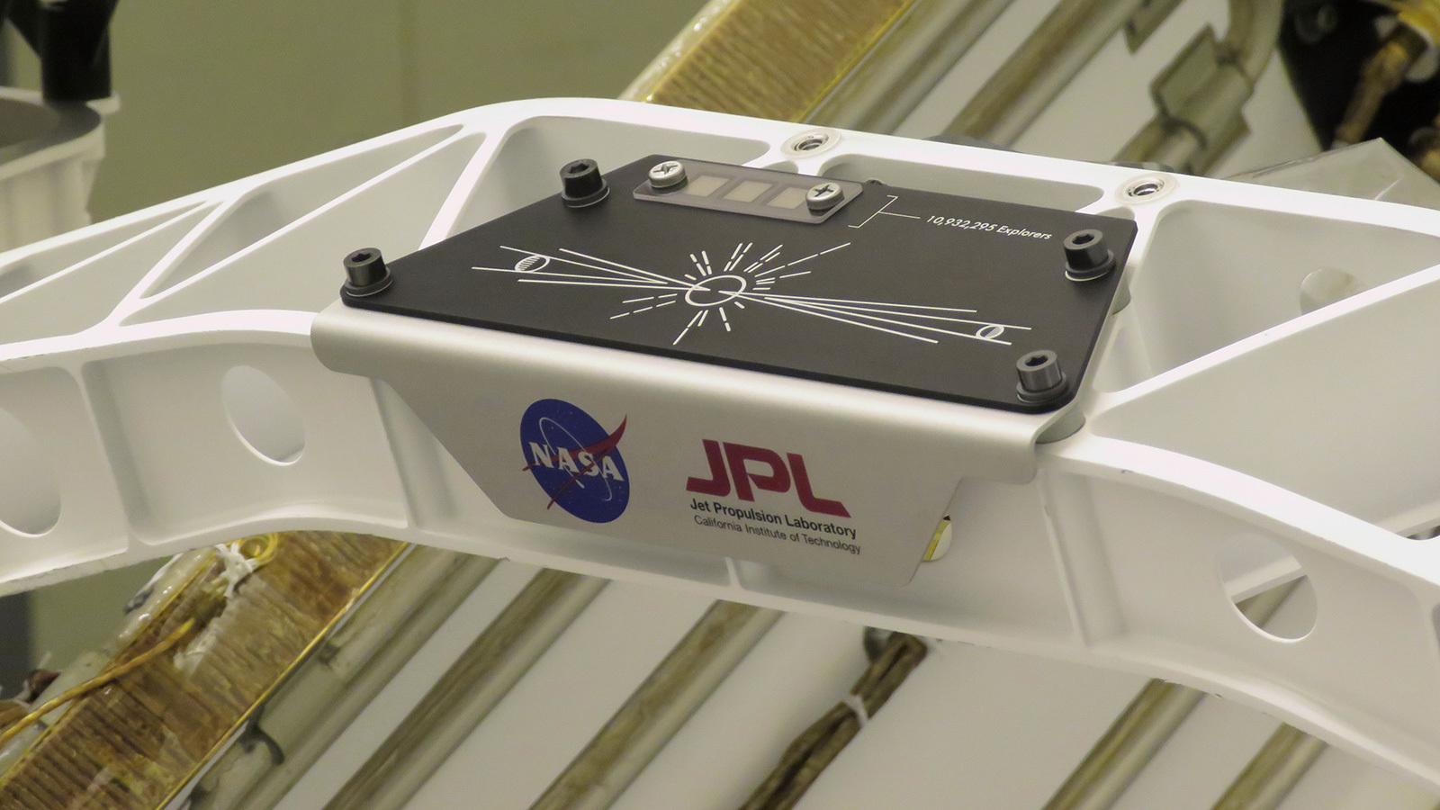 A placard commemorating NASA's