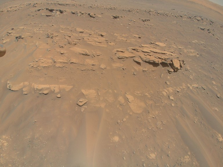 """This image of an area the Mars Perseverance rover team calls """"Faillefeu"""" was captured by NASA's Ingenuity Mars Helicopter during its 13th flight at Mars on Sept. 4, 2021."""