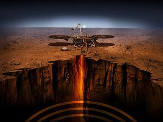 Un'illustrazione dell'artista del lander InSight su Marte.