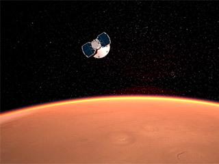 L'astronave InSight si avvicina a Marte nel concetto di questo artista.