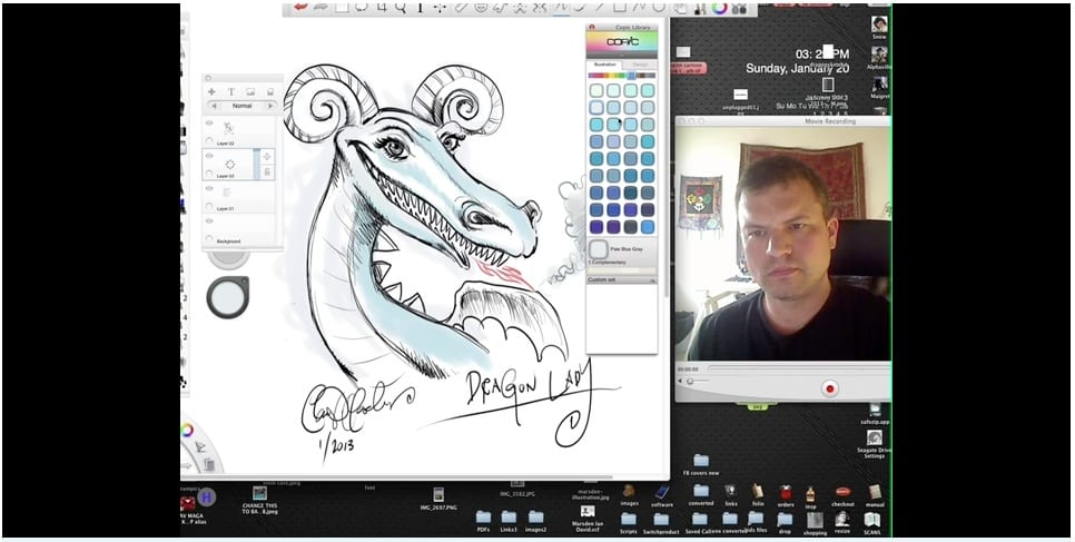 Live Sketching a Dragon in Autodesk SketchBookPro 6
