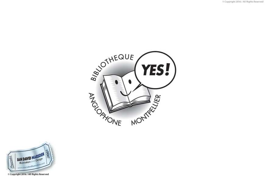 Bibliotheque Anglophone Montpellier Image of logo, character and mascot design by Ian David Marsden