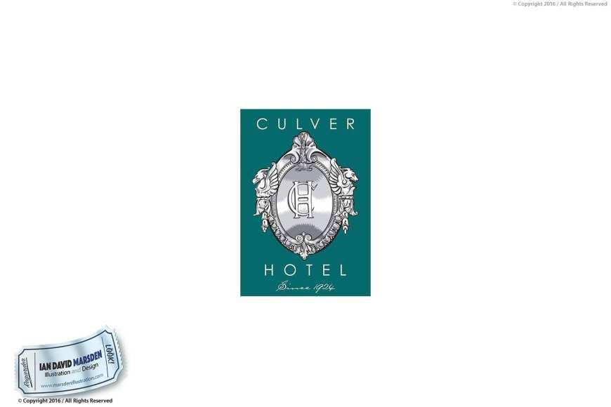 Culver Hotel Image of logo, character and mascot design by Ian David Marsden