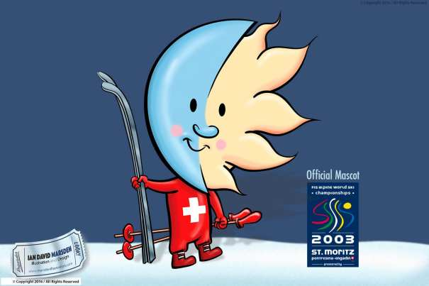 Official mascot of the ski world championships 2003 in St Moritz designed by Ian David Marsden