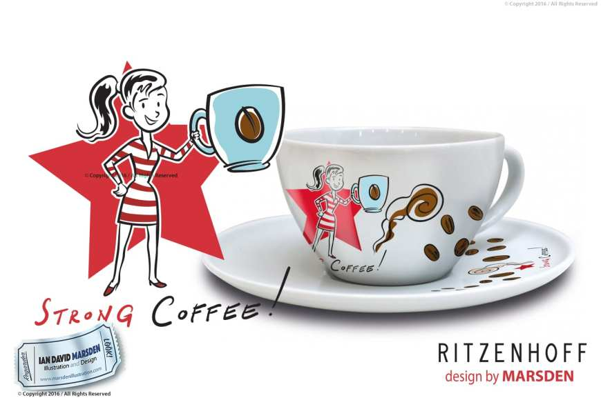Coffee Love Cappuccino Cup with Saucer - RITZENHOFF Design Collection Object by designer Ian David Marsden