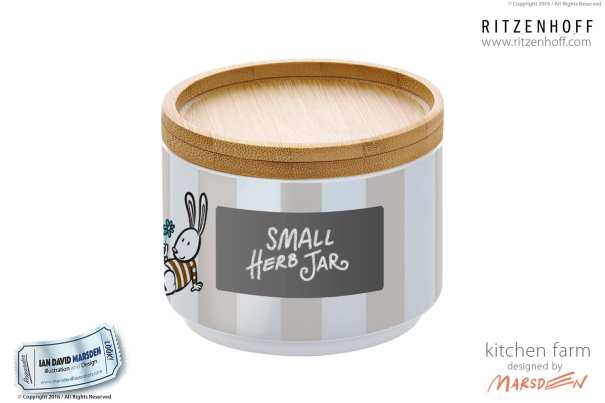 Kitchen Farm Small Herb Jar -RITZENHOFF Design Collection Object by designer Ian David Marsden