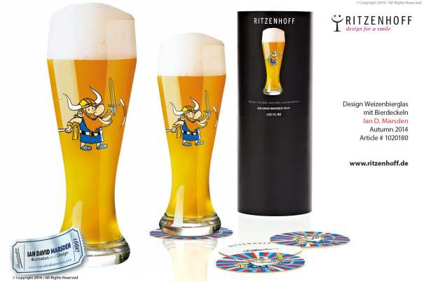 Viking Weizenbeer Glass - RITZENHOFF Design Collection Object by designer Ian David Marsden