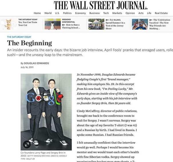 Wall Street Journal - Google The Beginning