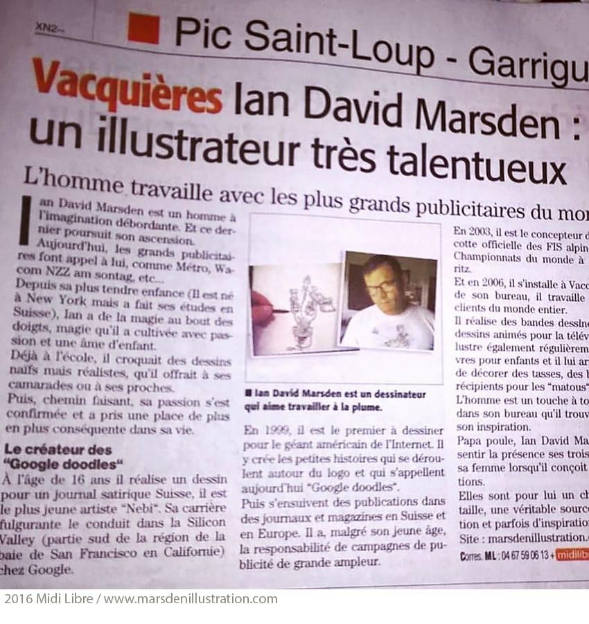 Ian David Marsden, un illustrateur désigner très talentueux (Article Midi Libre)