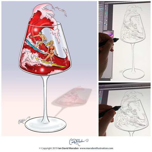 Wine Surfers - Custom Illustration for Invitation