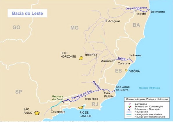 jColapso dos rios brasileiros, mapa do rio jequitinhonha