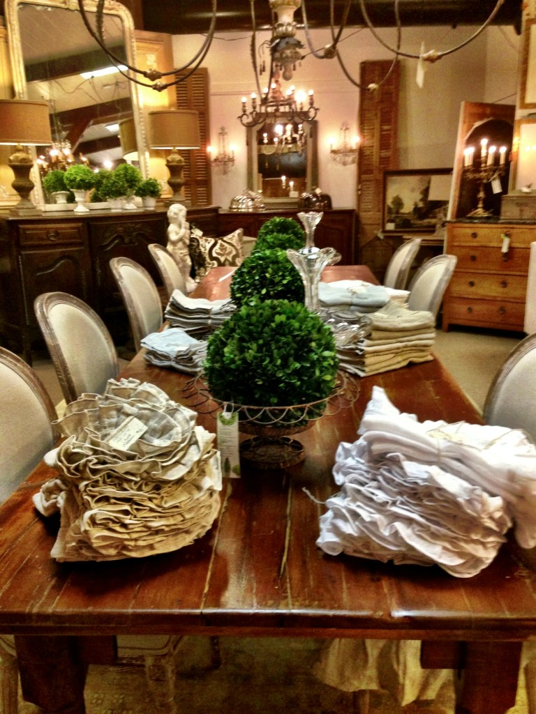 topiary, table, linen