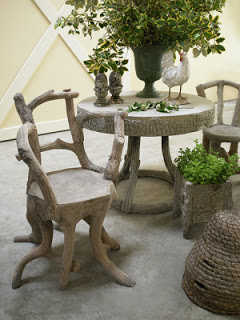Faux bois table and chairs