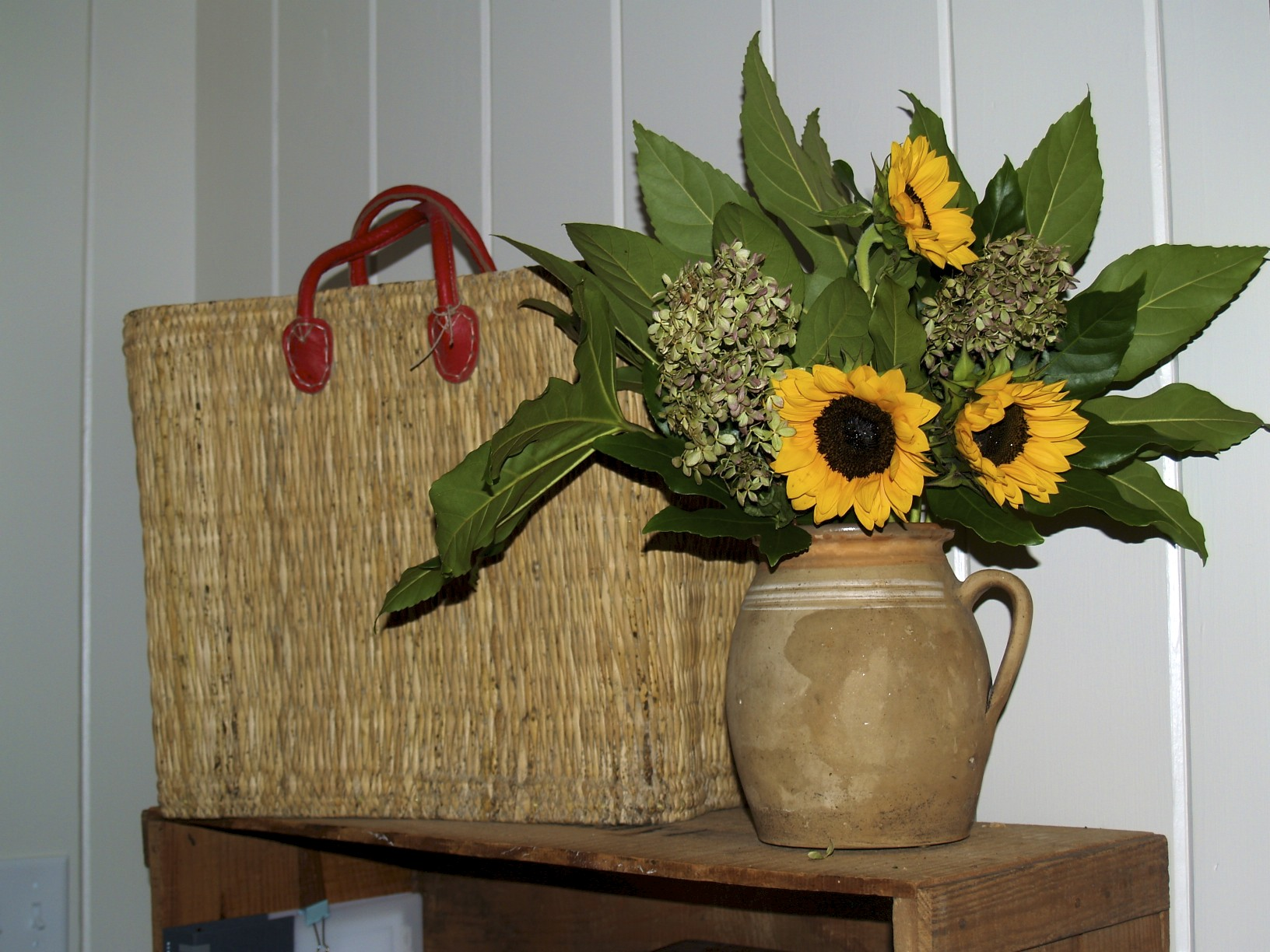 sunflowers, basket tote