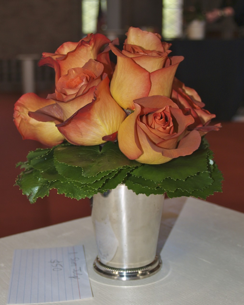 coffee break roses, hand tied bouquet