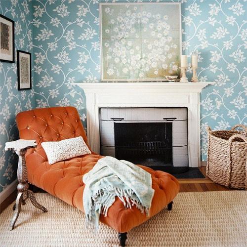 orange chaise lounge