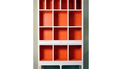 orange backed bookcase