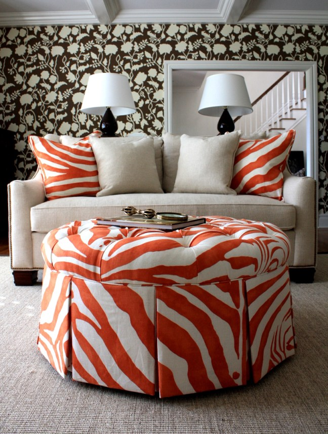 orange animal print ottoman