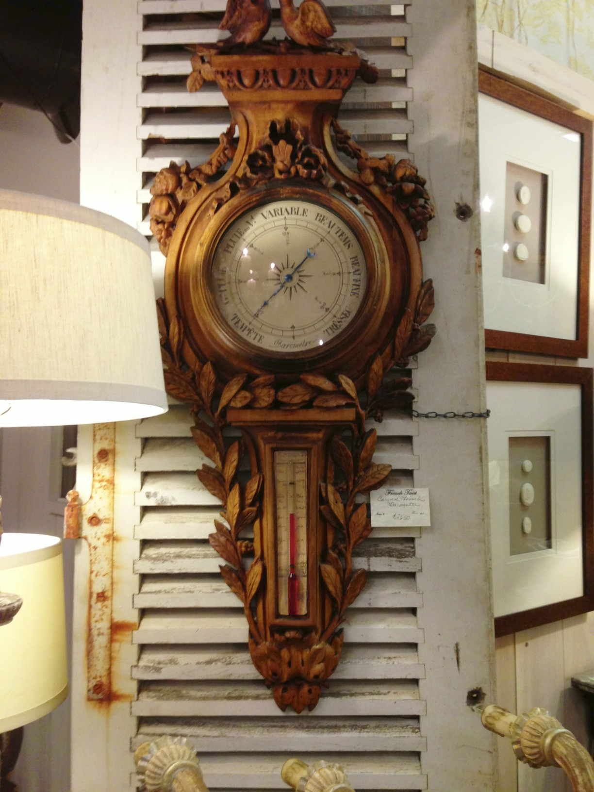french carved barometer
