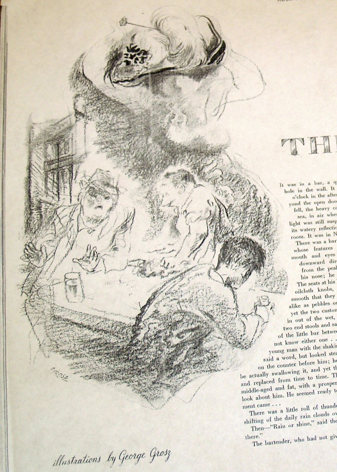 """George Grosz illustration of """"The Purple Hat"""" by Eudora Welty"""
