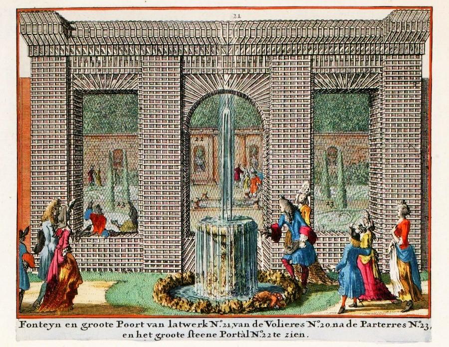 14 Johannes van den Aveele (Dutch art    latticeworkist, 1650-1712) for Amsterdam printer Nicolaus Visscher 1690s. Catshuis. Fountain in the latticework gate [next to the parterre garden]