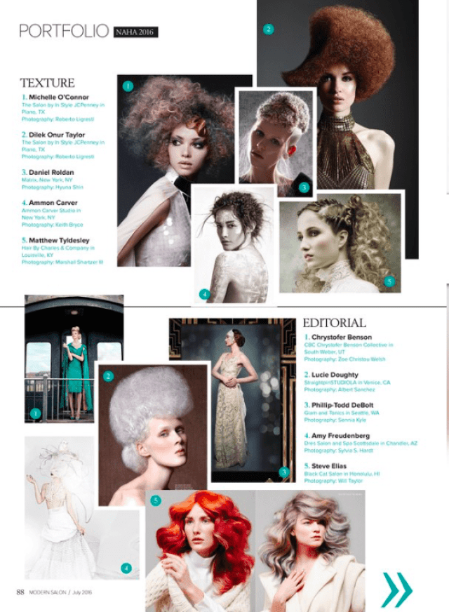 Modern Salon July 2016 Issue Table of Contents featuring Matthew Tyldesley and Photography by Marshall Artz Studio