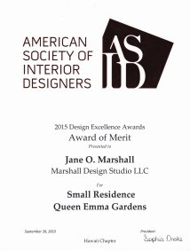 ASID Design Excellence Award 2015, Downtown Honolulu Apartment Renovation