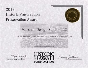 Historic Hawaii Foundation Preservation Award 2013, Wailuku Bungalow Restoration
