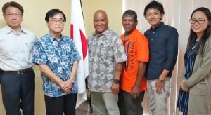 Japan Ambassador Hideyuki Mitsuoka and Waan Aelon in Majel Director Alson Kelen signed an agreement for a grassroots grant to the program.