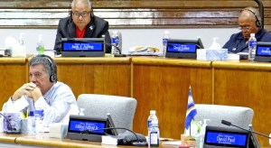 Former Minister Alfred Alfred, Jr. was absent from Nitijela Wednesday when President Hilda Heine announced his resignation to the chamber. He sat next to Foreign Minister John Silk, left. Backbenchers pictured, from left: Enewetak Senator Jack Ading and Wotho Senator David Kabua. Photo: Hilary Hosia.