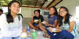 After the Xavier entrance test, students enjoyed lunch provided by Majuro Mayor Ladie Jack. Photo: Hilary Hosia.
