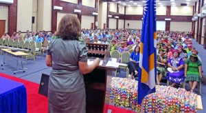 President Hilda Heine speaks to a packed ICC at Monday's Government Employee Forum, the first event of its kind in RMI. Photo: Hilary Hosia.