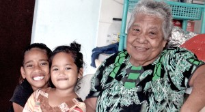 Bravo survivor Lemeyo Abon pictured with great grand neice Mita Eknilang (middle) and neighbor Nitha Milne in January. Photo: Hilary Hosia.