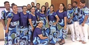 Nursing students at the College of the Marshall Islands held their annual Candle Light Vigil recently, a tradition in nursing training programs at the halfway mark. Those getting together for the event included, back row from left: Patrick Ronald, Bolen Nenam, Leson Riklon, Ryan Kiboi, Roland Peter, Neil Alee, Jotai Jotai, and Daneld Shabazz. In the front, from left: Norma Konno, Biyolani Hazzard-Pedro, Phillian Nedlic, Josephine Aias, Rubyna Hemon, and Ugine Kaipas. In front is Sharleen Silluk.