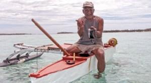 Tempo Alfred on his outrigger canoe in Ailuk Atoll in 2014. Photo: Seiichiro Takemine.