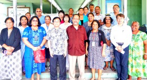 Foreign Secretary Bruce Kijiner (center) joined Japan Ambassador Hideyuki Mitsuoka and Ministry of Health and Human Services staff to handover equipment for Majuro and Ebeye hospitals.