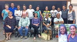 On the right, the happy duo of Majuro Cooperative School sophomore Hannah Reimers and Assumption High School junior Berlin Philippo who won scholarships to study at United World College schools in Japan and Germany, respectively. Photo: Tamara Greenstone-Alefaio.