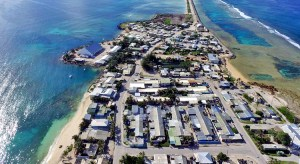 Recent aerial photo of Ebeye's housing area, in foreground, constructed in 1965. Photo: Anjojo Kabua.