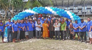 A large group turned out at the airport water reservoirs for the handover of two excavators from the Japan government to Majuro Water and Sewer Company. Photo: Hilary Hosia.