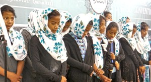 Muslim girls sing during the recent Ahmadiyya annual convention in Majuro. Photo: Hilary Hosia.