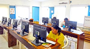 Caption: The computer lab at the new CMI's new Distance Education Center on Jabor, Jaluit. Photo: Hilary Hosia.