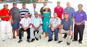 Miss Urok Moritha Milne happily went to center stage in this photo of the Urok Club board members. They joined with her as part of launching the excitement for the club's annual two-day bottom fishing tournament that starts this Friday. Photo: Hilary Hosia.