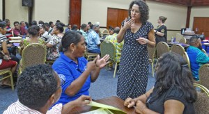 Special Education teachers and trainers conversed recently at a Summer Institute workshop held at the International Conference Center in Majuro. Photo: Hilary Hosia.