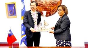 President Hilda Heine welcomed new Taiwan Ambassador to the Marshall Islands Jeffrey SC Hsiao last week in Majuro. Photo: RMI Office of the President.