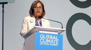 Marshall Islands President Hilda speaking at the Global Climate Action Summit in San Francisco last week.