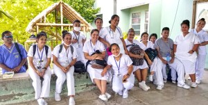 College of the Marshall Islands practicum nursing students at Majuro hospital. Photo: Kelly Lorennij.