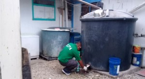 An EPA official takes a water sample from a catchment tank on Ebeye for laboratory testing.