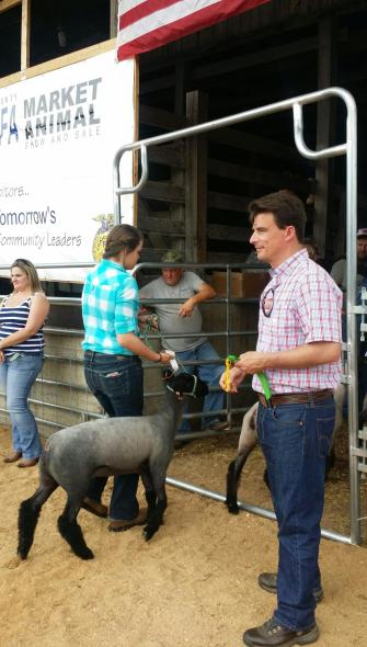 Handing out Ribbons to Young Farmers in Augusta County